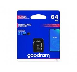 CARTÃO DE MEMORIA GOODRAM MICRO SDHC 64GB CLASS 10 UHS-I + ADAPTADOR SD