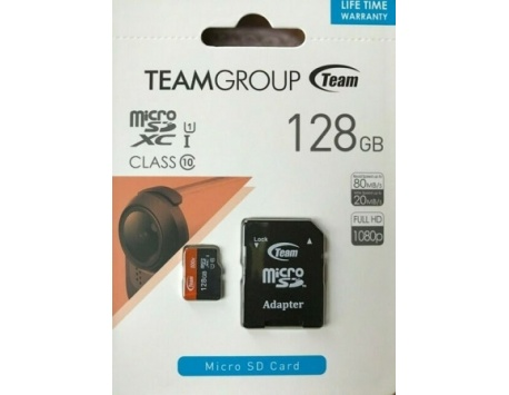 CARTÃO DE MEMORIA TEAM GROUP SDXC MICRO SD 128GB CLASS 10 UHS-I