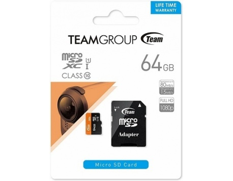 CARTÃO DE MEMORIA TEAM GROUP SDXC MICRO SD 64GB CLASS 10 UHS-I