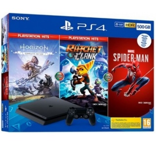 CONSOLA PS4 SLIM 500GB + HORIZON + RATCHET & CLANK + SPIDER-MAN