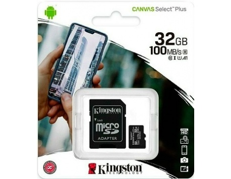 CARTÃO DE MEMORIA KINGSTON CANVAS SELECT PLUS MICRO SDHC  UHS-I 32GB CLASS10