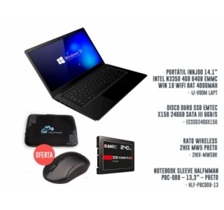 PACK OFFICE ESTUDANTE – PORTÁTIL COM DISCO SSD 240GB - RATO WIRELESS - BOLSA