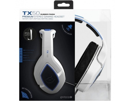 HEADSET GAMING GIOTECH TX-50 BRANCO/AZUL PS5/PS4/MOBILE