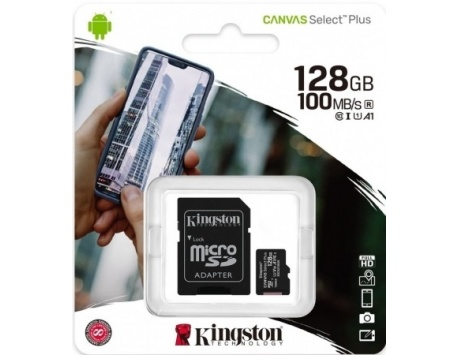 CARTÃO MEMÓRIA KINGSTON CANVAS SELECT PLUS C10 A1 UHS-I MICROSDXC 128GB + ADAPTADOR SD